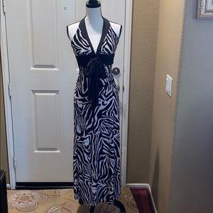 Beautiful Alyn Paige Halter Dress in Zebra Print